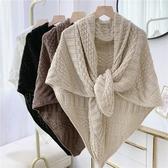 秋季三角巾針織毛線披肩式上衣冬季外搭圍巾圍脖兩用多功能百搭