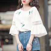 短袖T恤 蕾絲喇叭袖上衣女學生寬鬆歐貨大版短袖T恤打底衫  魔法鞋櫃