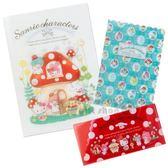 〔小禮堂〕Sanrio大集合 日製L型文件夾組《3入.白紅》L夾.資料夾.檔案夾.蘑菇市集系列 4901610-41021
