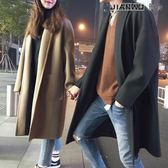 新款韓版呢大衣男中長款寬鬆毛呢加厚情侶風衣呢子保暖外套大衣男