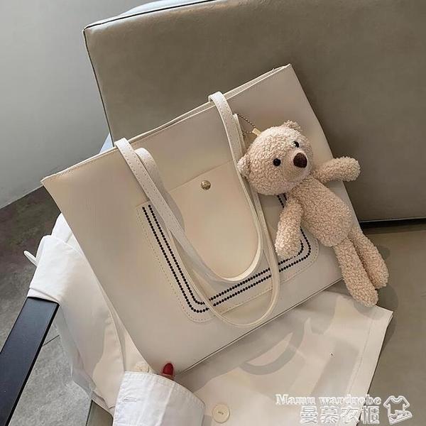 托特包 韓國可愛小熊包包女2021新款潮時尚大容量側背包網紅高級感托特包【618 購物】
