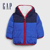 Gap嬰兒 可兩面穿仿羊羔絨連帽外套 592823-藍色拼接