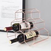 北歐簡約金屬創意家用葡萄紅酒架餐廳客廳擺件現代酒櫃展示裝飾品XSX【購物節限時83折】