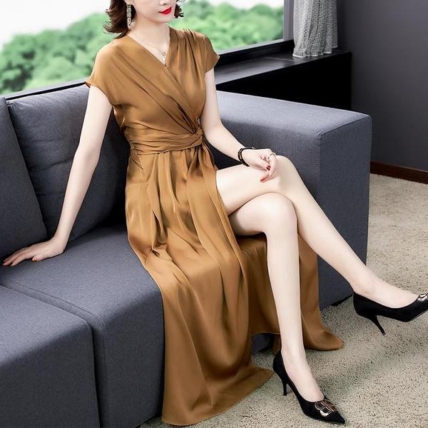 喜婆宴會媽媽禮服 緞面裙子2021年新款夏天高端名媛奢華氣質顯瘦真絲連身裙 百分百