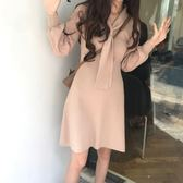 【春季上新】 YOUR 秋冬新品  氣質款修身顯瘦打領結針織連身裙 女