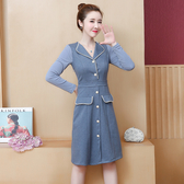 【GZ53】連身裙洋裝 秋冬裝新款小香風釘珠裙子收腰顯瘦長袖連衣裙女