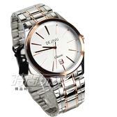 DEJAVU 簡約時刻防水腕錶 學生手錶 不銹鋼帶 日期顯示窗 男錶 大款 玫瑰金 5018G玫白大