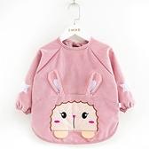 寶寶罩衣防水防臟兒童秋冬季女孩反穿衣圍兜吃飯衣水晶絨嬰兒圍裙