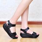 厚底楔形涼鞋女夏中跟厚底鬆糕防滑軟底平底...