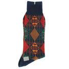 KENZO 大菱格紋刺繡紳士襪(藍色)999975