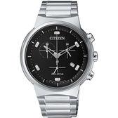 CITIZEN 星辰GENT'S 夜空星辰簡約時尚光動能三眼計時腕錶/42mm-銀 AT2400-81E