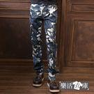 【7272】韓系工裝迷彩彈力修身休閒工作長褲(藍灰)● 樂活衣庫