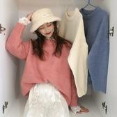~~~ 秋冬百搭基礎款套頭圓領寬鬆針織衫長袖保暖毛衣女 雅楓居