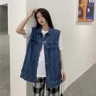 (下殺)韓版雜誌風潮寬鬆BF風外穿牛仔馬甲無袖外套【08SG04920】