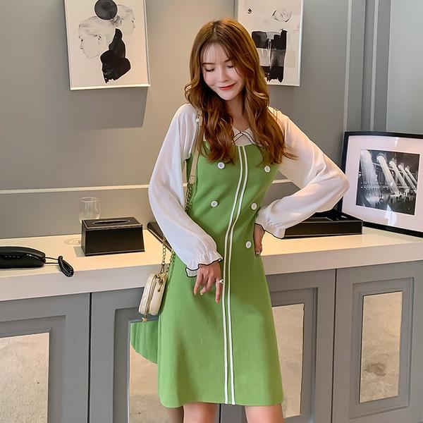 VK旗艦店 韓國風針織雪紡撞色拼接娃娃領長袖洋裝