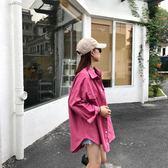 2019秋季韓版女裝BF風寬鬆中長款翻領單排扣工裝襯衫外套學生女潮