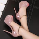 性感金屬一式扣帶涼鞋女14CM超高跟細跟防水臺夜店魚嘴鞋