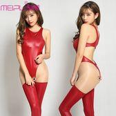 雙十二狂歡 仿皮情趣高叉緊身衣性感誘惑高腰女泳衣漆皮長筒襪連體衣套裝