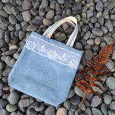 午后散步手提包外出包托特包~Mita ~MI 0980 牛仔藍藍色花朵