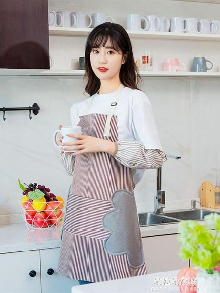 圍裙 圍裙家用廚房防水工作服男女圍腰夏季時尚大人做飯防 朵拉朵衣櫥