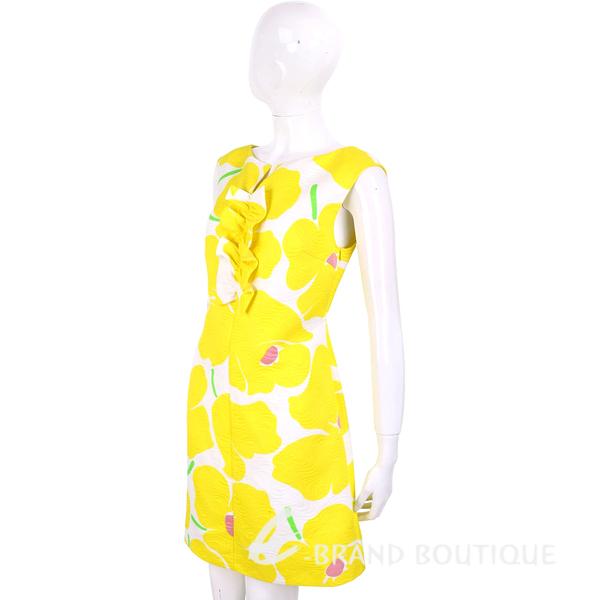 BOUTIQUE MOSCHINO 檸檬黃浮雕花朵印花無袖洋裝 1620515-66