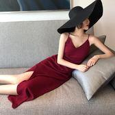 夏海邊土耳其泰國酒紅沙漠海邊度假開叉長裙v領顯瘦露背沙灘裙