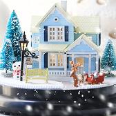 【WT16120914】手製DIY小屋 手工拼裝房屋模型建築 音樂盒  含展示盒-北歐童話