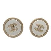 CHANEL 香奈兒 金x銀圓形Logo針式耳環 CC Round Button Earrings【BRAND OFF】