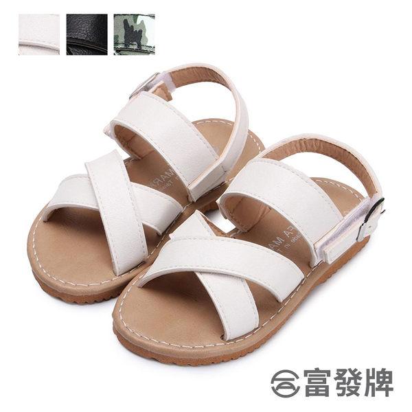 【富發牌】簡約夏日兒童涼鞋-黑/白/迷彩  33ML57