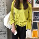 【GR12】韓系網紅百搭純色抽繩圓領長袖上衣 T恤 潮流 時尚(4色可選)