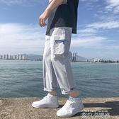 夏季薄款工裝褲男寬鬆直筒潮流百搭韓版休閒男生九分褲子運動長褲 依凡卡時尚