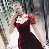 小洋裝女2021新款絲絨紅色宴會晚洋裝短款名媛聚會宴會生日洋裝 幸福第一站