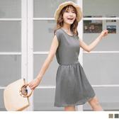 《DA4788》繽紛幾何印花蝴蝶結美背造型腰圍鬆緊連袖洋裝.2色 OrangeBear