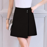韓版不規則半身短裙夏女2019新款大碼夏季黑色職業高腰a字裙顯瘦