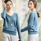 針織衫-素色100全羊毛衫V領毛衣霧霾藍/設計家 Z8906