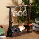 泰式實木紅酒架擺件創意紅酒杯架倒掛家用高腳杯架葡萄酒酒瓶架子   WD聖誕節快樂購