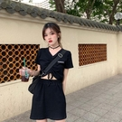短袖套裝 時尚套裝女春季新款韓版抽繩刺繡短袖打底上衣高腰半身裙兩件套潮 曼慕衣櫃
