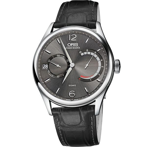 ORIS 豪利時 Calibre 111 十日動力儲存手動上鏈機械手錶-灰x黑/43mm 0111177004063-0712372FC