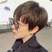 假發女生短發型時尚韓國中性短直發套蓬鬆帥氣圓臉男士波波頭     韓小姐の衣櫥