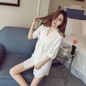 睡衣女夏性感情趣誘惑白襯衫女中長款新款夏季超薄睡裙老公裙  糖糖日繫森女屋