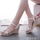 女士涼鞋2020新款防滑坡跟涼鞋女舒適韓版學生時尚防水臺百搭女鞋 蘿莉新品