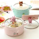 泡麵碗 可愛豬豬大號學生創意帶蓋雙耳陶瓷家用個性吃飯碗單個湯碗【【八折搶購】】