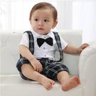 紳士領結小西裝假2件式短袖吊帶褲連身衣 橘魔法 Baby magic 現貨 兒童 童裝 男童 喜酒 婚禮 花童