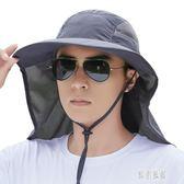 帽子男遮陽帽夏天遮陽帽漁夫帽戶外太陽帽遮臉防曬帽釣魚帽 LR6171【原創風館】