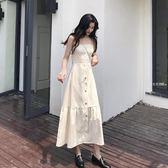細肩帶洋裝 夏季新款韓國百搭復古初戀裙露背細肩帶中長款顯瘦洋裝女潮·夏茉生活