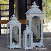 蠟燭台-歐式鐵藝復古浪漫燭臺擺件防風落地風燈蠟燭臺婚慶道具路引馬燈  多麗絲