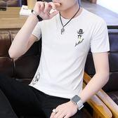 短袖男士T恤夏季休閒時尚青年半袖上衣服百塔圓領修身體恤衫【限時好康9折】