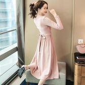 0897氣質名媛秋季假兩件長裙修身高腰亮線裙子長袖連身裙女GT-2F-233-A朵維思