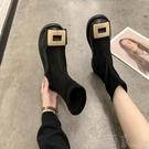 平底靴時尚方扣彈力襪子鞋新款平底短靴女秋冬黑色圓頭網紅瘦瘦靴女 盯目家