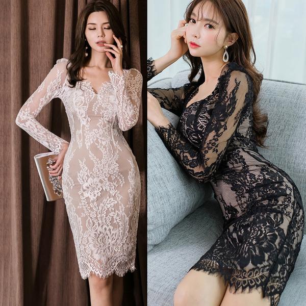 絕版出清 韓國風名媛氣質性感深V領蕾絲包臀長袖洋裝